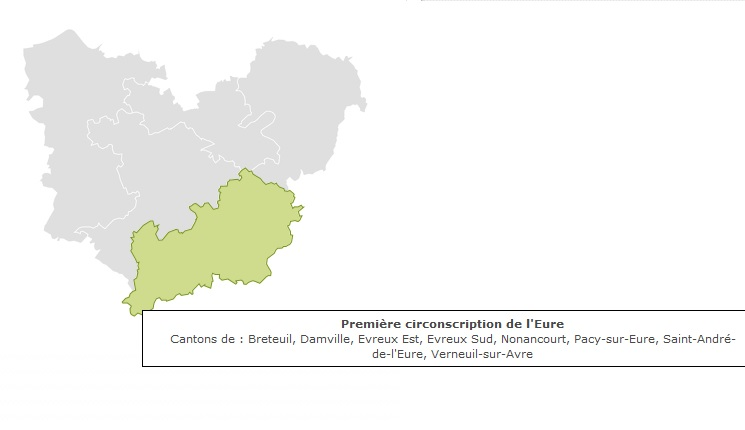 Carte 1ère circonscription de l'Eure