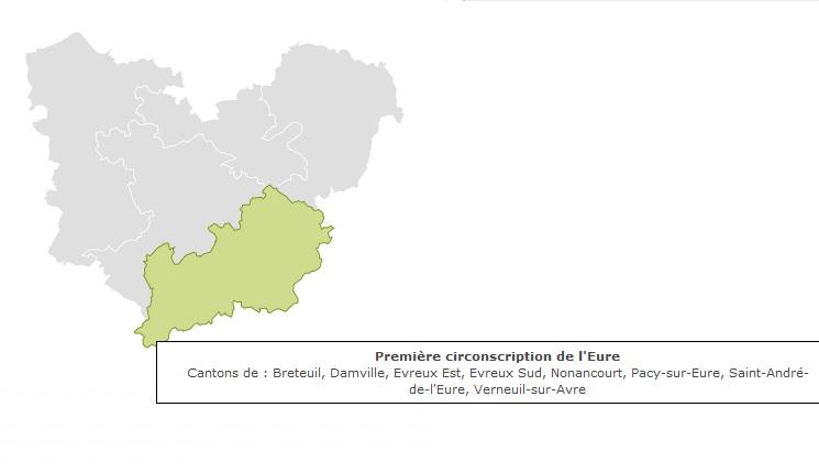 Carte 1ère circonscription de l'Eure