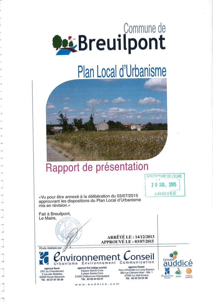 Rapport de présentation PDG