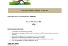 Prochain conseil municipal le vendredi 15 janvier 2021