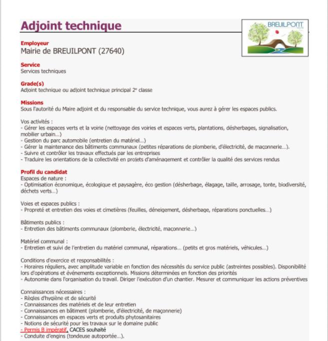 Offre d'emploi à Breuilpont !