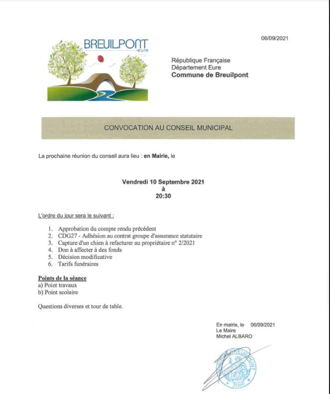 Prochain conseil municipal le vendredi 10 septembre 2021
